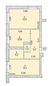 Продається 2-кімнатна квартира 60.8 кв. м у Тернополі