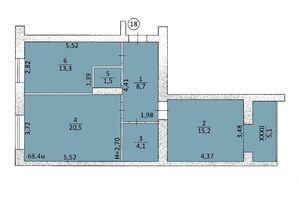 Продається 3-кімнатна квартира 62.24 кв. м у Тернополі