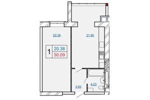 Продается 1-комнатная квартира 50.09 кв. м в Хмельницком