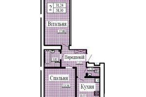 Продается 2-комнатная квартира 58.3 кв. м в Луцке