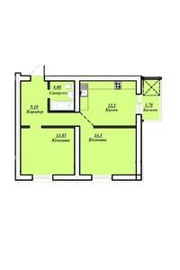 Продается 2-комнатная квартира 57.4 кв. м в Тернополе