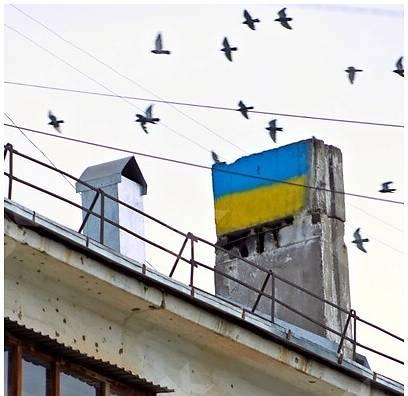 Россиянина оштрафовали на 1000 руб. за нарисованный на трубе дома флаг Украины