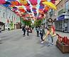 Житомир: одну из улиц украсили инсталляцией из зонтиков