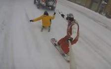 Видео: Заснеженный Нью-Йорк стал трассой для сноубордистов
