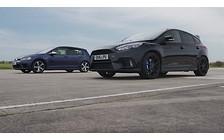 Видео: Ford Focus RS и Volkswagen Golf R сразились в дрэге