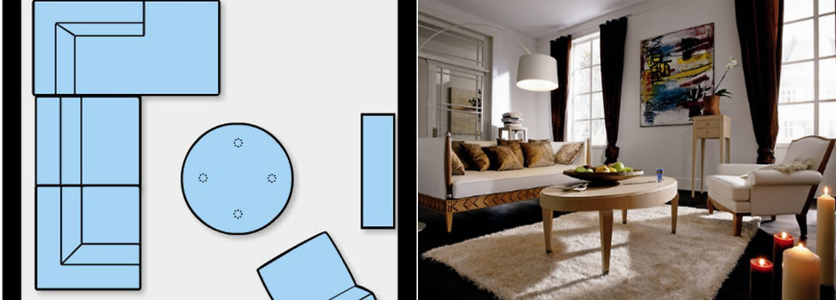 Асимметричная схема расстановки мебели