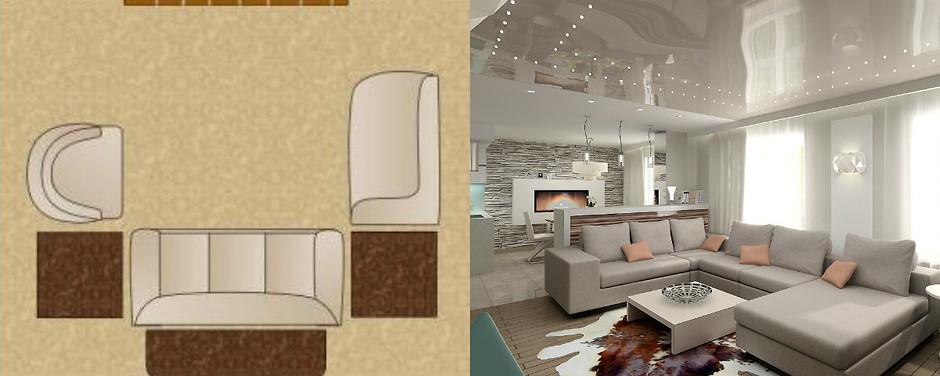 П-образная схема расстановки мебели