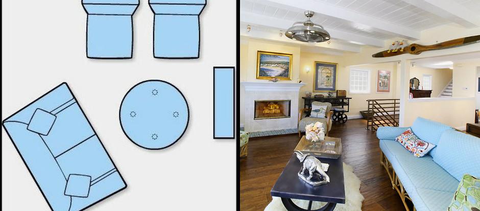 Диагональная схема расстановки мебели