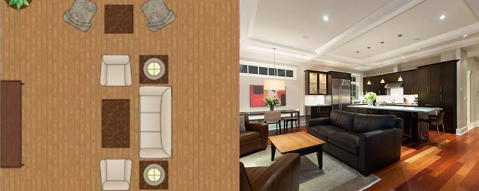 Зональная схема расстановки мебели