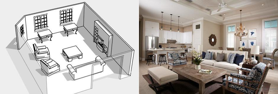 Круговая схема расстановки мебели