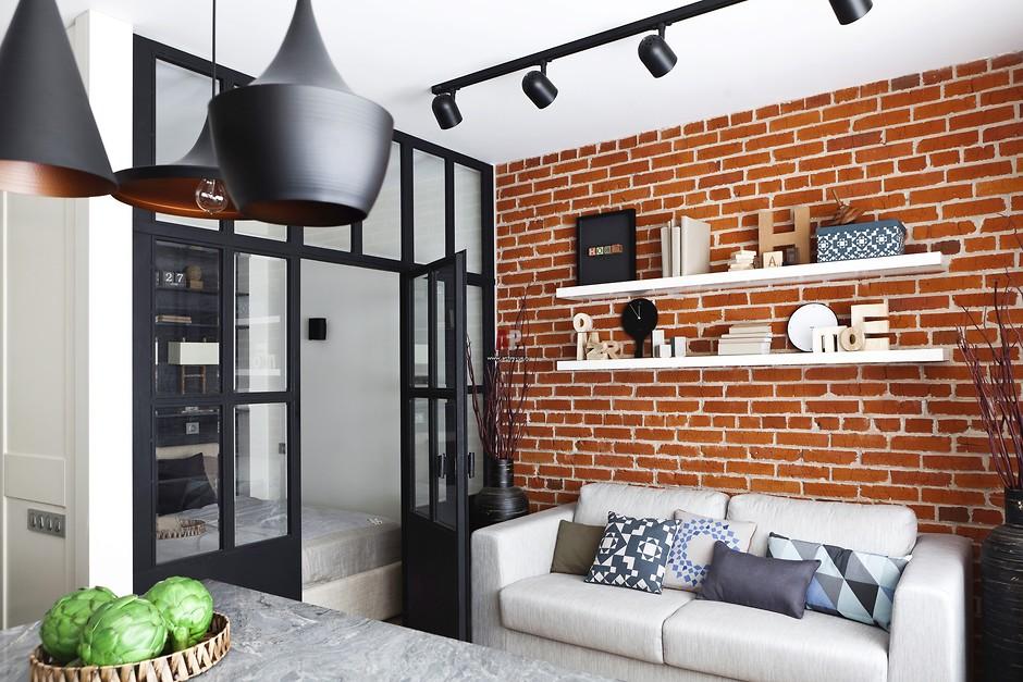 Маленькая гостиная в стиле лофт фото