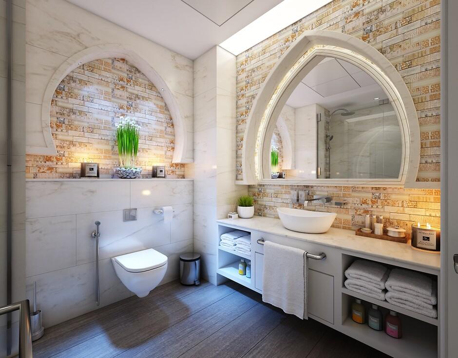 Белый с коричневым в ванной комнате