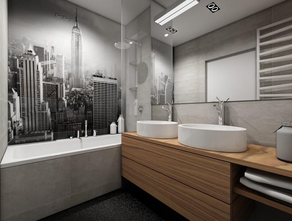 Белый с серым ванная комната