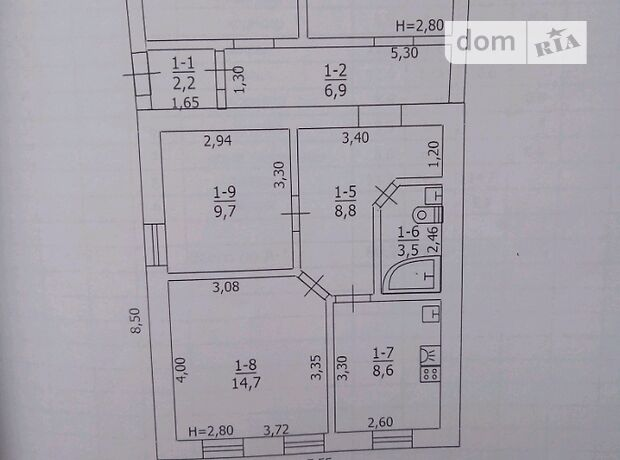 одноэтажный дом с садом, 80.2 кв. м, шлакоблок. Продажа в Лутугине фото 1