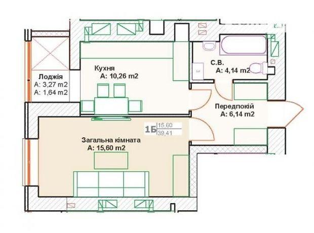 Продажа квартиры, 1 ком., Киевская, Буча, Вишневая улица, дом 1