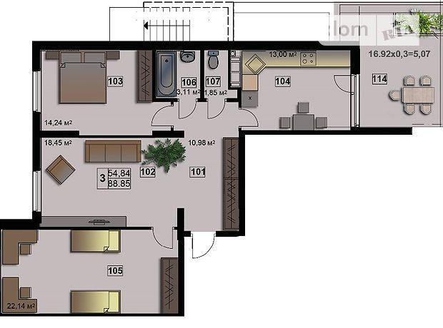 Продажа трехкомнатной квартиры в Житомире, на ул. Леваневского 54, район Королевский фото 1