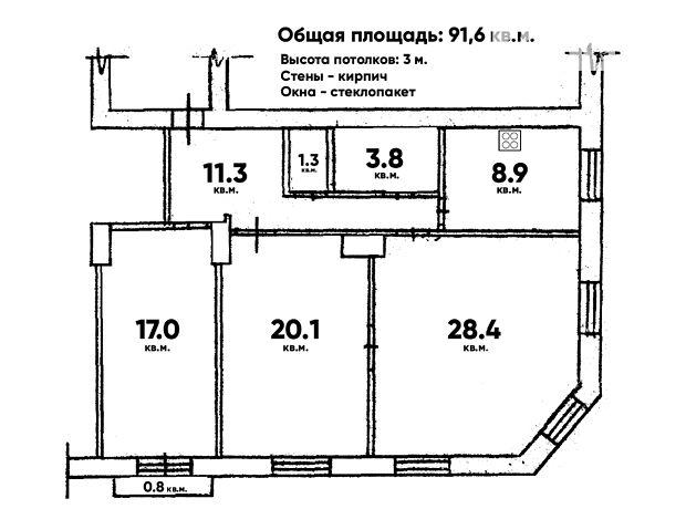 Продаж квартири, 3 кім., Суми, р‑н.Центр, Енгельса вулиця, буд. 1