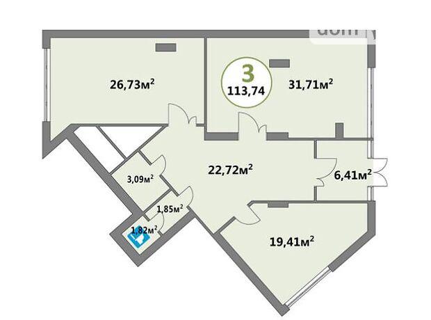 Офисное помещение на 113.74 кв.м. в нежилом помещении в жилом доме в Львове фото 1