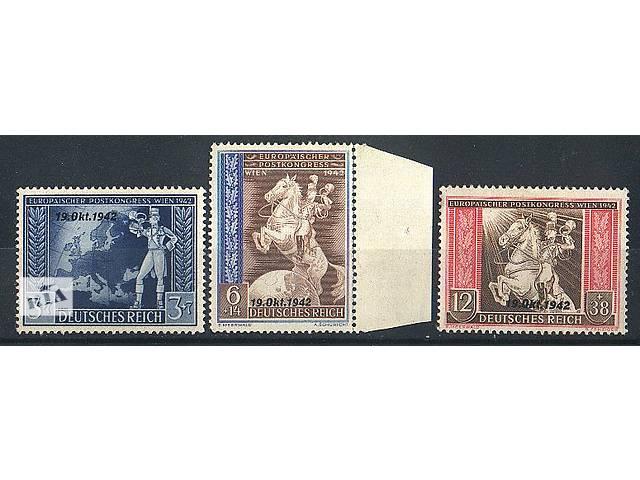 купить бу 1942 - Рейх - Почтовый конгресс_ надпечатки Mi.823-25 **/* в Ровно