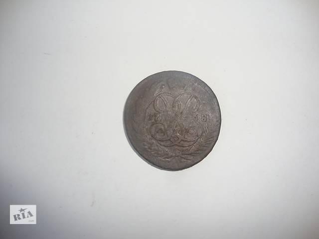 купить бу 2 копейки 1758 года перечекан в Щорсе (Сновске)