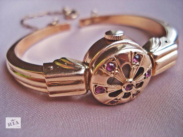 Женские золотые часы браслет краб