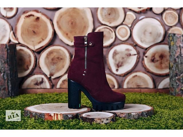 бу Бордовые ботинки на стильной подошве код 818б1 в Николаеве