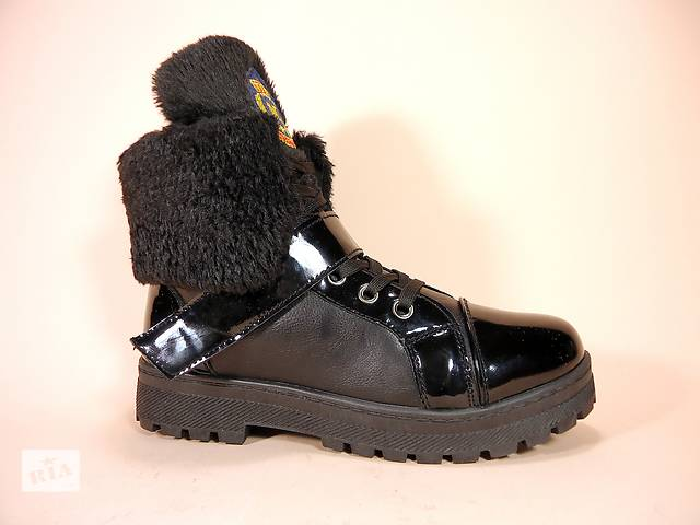 купить бу Ботинки женские, зимние, черные, на шнуровке с липучкой. 36,37,39,40. в Хмельницком