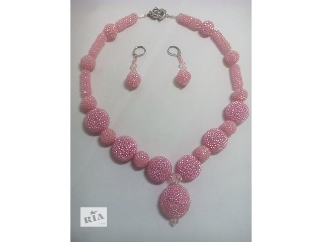 """купить бу Бусы и серьги """"Розовая нежность"""" из оплетенных бусин бисером в Мелитополе"""