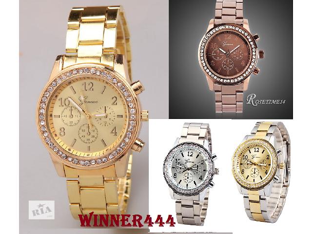бу Часы женские Geneva Luxury Svarovski 4 цвета! в наличии!!! в Нежине