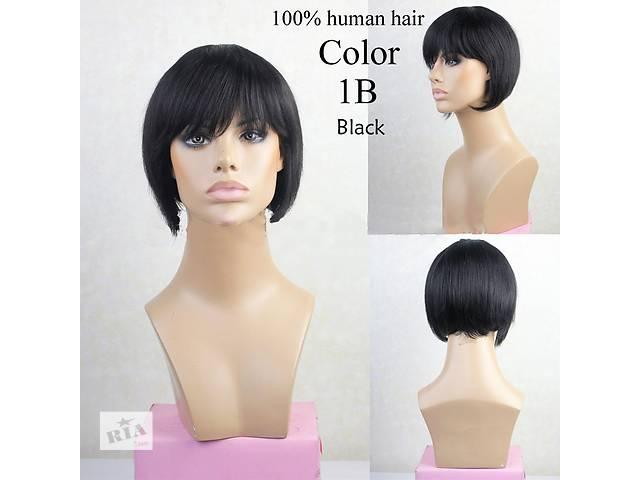 купить бу Чёрное каре. Натуральный парик, из натуральных волос купить парик wigs монопарик недорого в Украине в Киеве