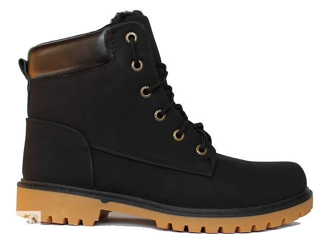 купить бу Черные мужские ботинки с коричневой подошвой в стиле Timberland. в Днепре (Днепропетровск)