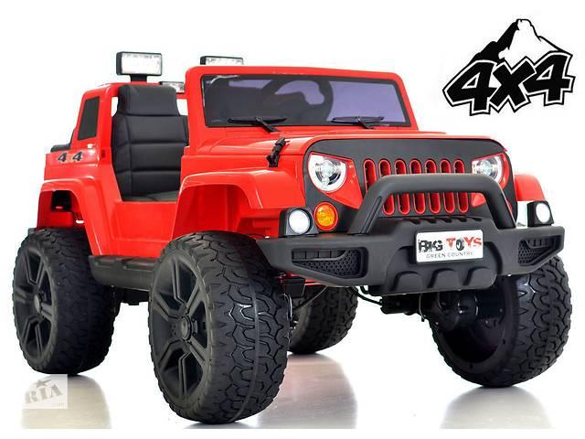 продам Детский электромобиль Jeep Wrangler 4х4: моторы 4х45W, 2 акум-ра, кож.сидение и резин.колеса EVA бу в Львове