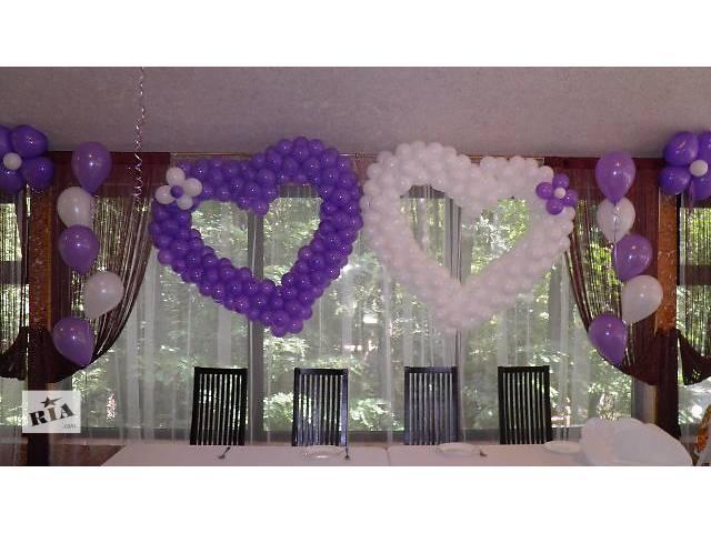 Декор свадебного зала. Оформление свадьбы воздушными шарами. Украшение на свадьбу. Гелиевые шарики для запуска в небо.- объявление о продаже  в Киевской области