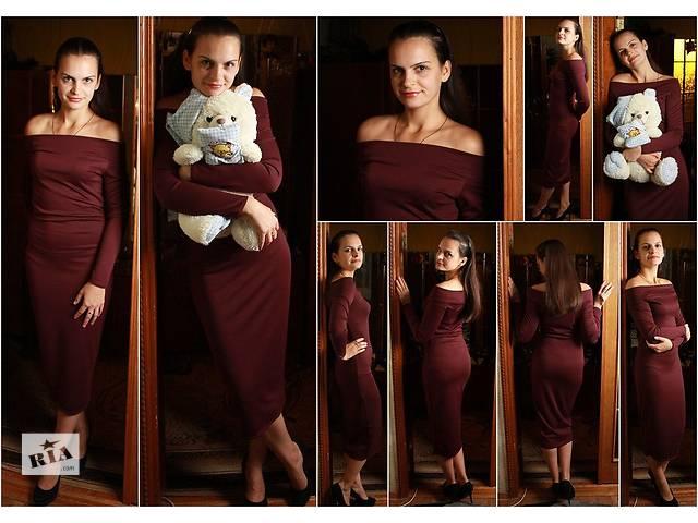 купить бу Демисезонное платье миди с открытыми плечами в Прилуках