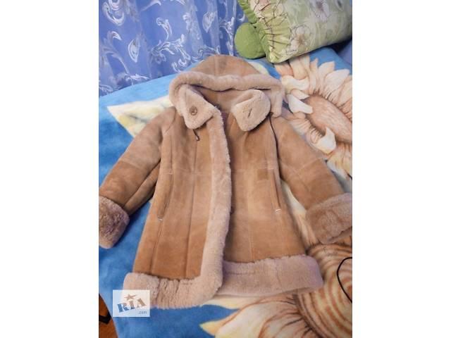 купить бу Детская овечья дубленка,  капюшон отстегивается, тепленная. в Луганске