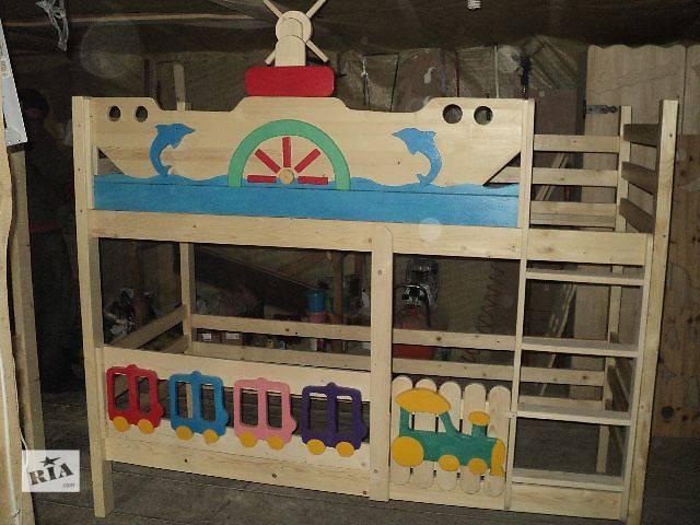 купить бу Детская двухъярусная кровать Морячок для ваших деток из смерекы карпатской в Киеве