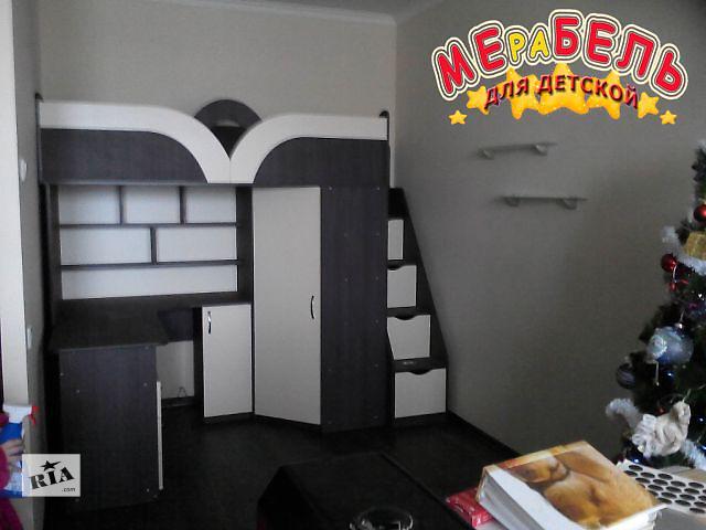 продам Детская кровать-чердак с рабочей зоной, угловым шкафом, тумбой и лестницей-комодом (кл19) Merabel бу в Харькове