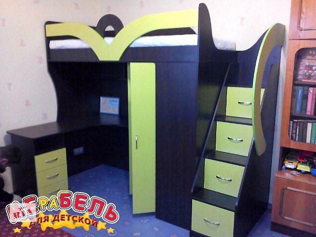 продам Детская кровать-чердак с рабочей зоной, угловым шкафом и лестницей-комодом (кл22) Merabel Рассрочка бу в Харькове