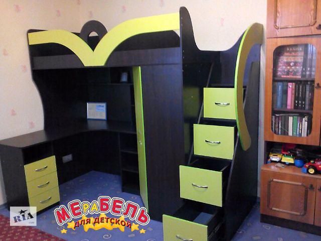 купить бу Детская кровать-чердак с рабочей зоной, угловым шкафом и лестницей-комодом (кл22) Merabel в Харькове