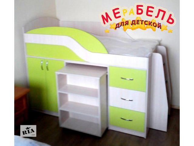 бу Детская кровать с выдвижным столом, шкафом, полками и ящиками (д18) Merabel Рассрочка в Харькове