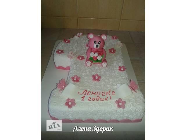 Детский торт на годик девочке в виде единички с мишкой- объявление о продаже  в Киеве