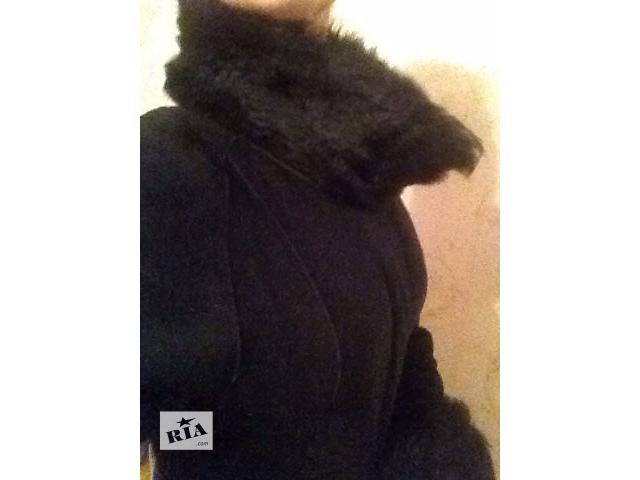продам Дубленка черная с натуральным мехом длинная бу в Житомире
