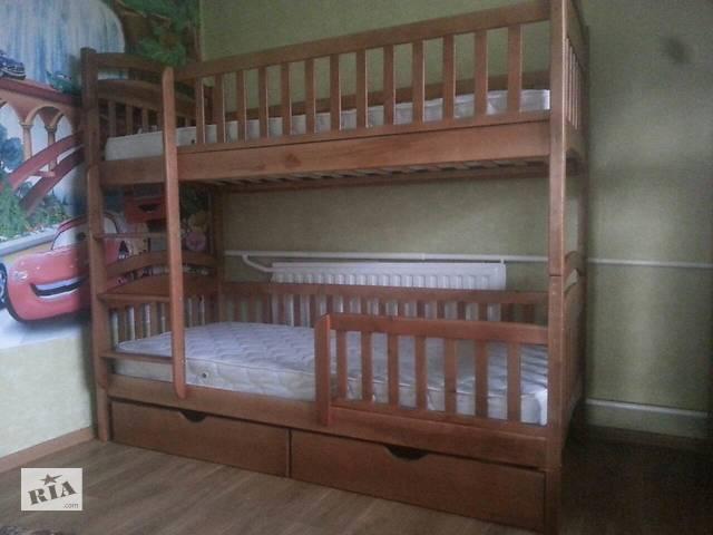 продам Двухъярусная кровать Карина Люкс с Ортопедическими матрасами и с ящиками в любом цвете из натурального дерева бу в Киеве
