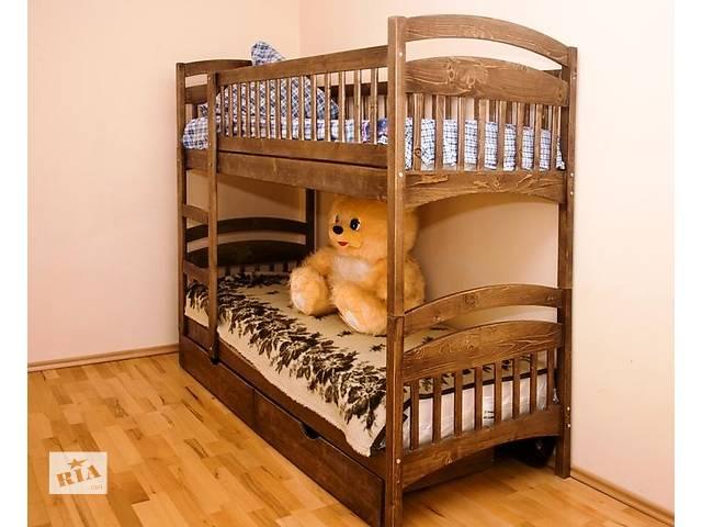 продам Двухъярусная кровать Карина из натурального дерева от производителя с ящиками и с матрасами бу в Киеве