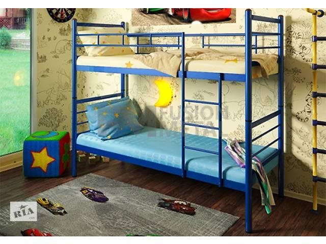 купить бу Двухъярусная кровать детская металлическая трансформер Акварель + матрасы в Киеве