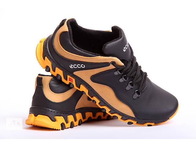 продам ECCO Track - мужские кожаные кроссовки черные с желтым бу в Вознесенске