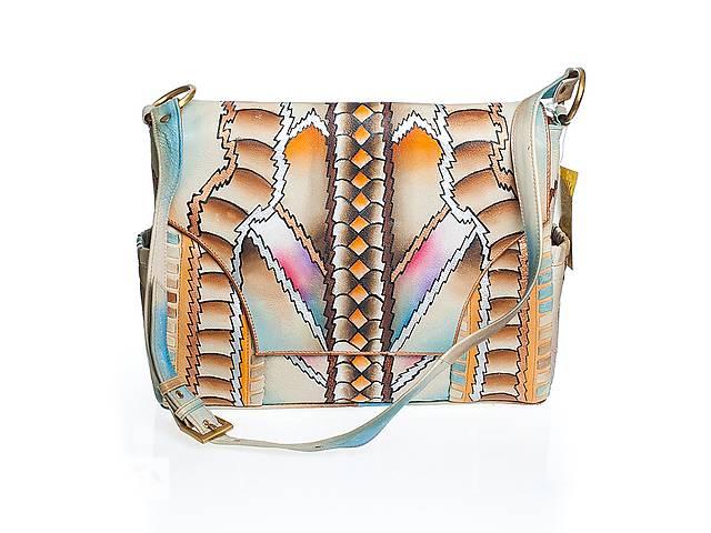 купить бу Эксклюзивная сумка-портфель кожаный с выполненной вручную росписью в Киеве
