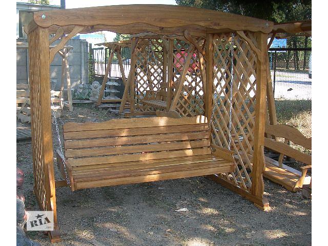 продам Качели из дерева с раскладной скамейкой бу в Виннице