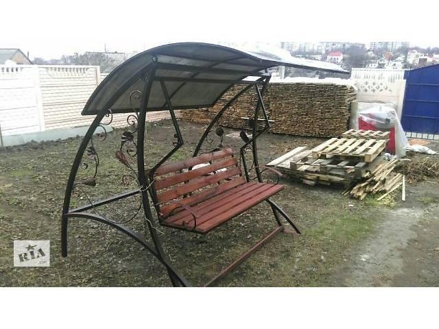 бу Качеля садовая со стальным каркасом и навесом из поликарбоната в Днепре (Днепропетровск)