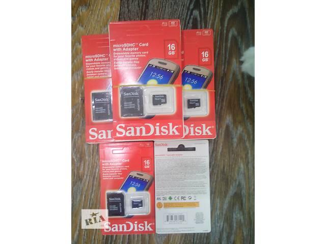 """Карты памяти Micro SD """"SanDisk"""" 16 gb с переходником SD!!!- объявление о продаже  в Запорожье"""